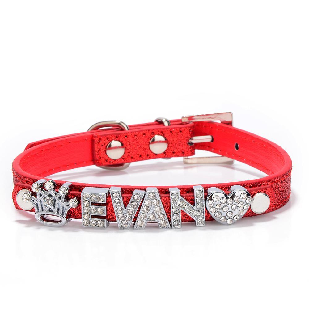 Commercio all'ingrosso / cuoio PU Personalizzato Sparkly Pet Collar cani o gatti con barra di scorrimento da 10 mm Fit lettere da 10 mm