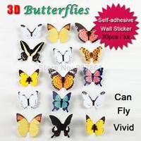paquete de pegatinas para niños al por mayor-Funlife 30 unids / pack Colorido Encantador Vivid 3D Mariposa Etiqueta de La Pared Estilo Zakka Para el Dormitorio de los Niños Decoración Del Hogar BD1118