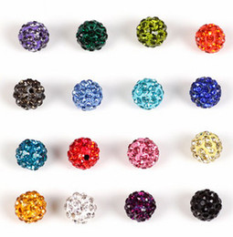 Wholesale Disco Ball Bracelet Flags - 100pcs lot 10mm free shipping new red white mixed Micro Pave CZ Disco Ball Crystal Shamballa Bead Bracelet Necklace Beads DIY spacer.