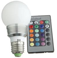 Wholesale E27 3w - globe Led RGB globe bulb GU10 E27 E14 B22 3W 85-265V RGB Color Changeable LED Light Bulb lamp Wireless Remote Control