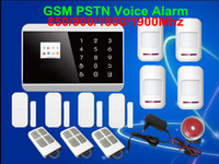 Wholesale Dual Network Security Alarms - New Quad Band Touch Keypad TFT Dislay Dual-network Wireless GSM PSTN SMS Home Security Voice Burglar Alarm Remote control Alarm
