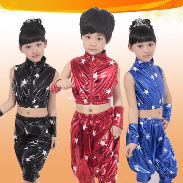 Duas Peças Terno Crianças Traje de Dança Jazz Meninas Menino de Couro de Patente legal Hip-hop Crianças roupas de Dança Moderna estágio RH0001