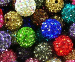 Wholesale Loose Cz - 500pcs lot 10mm mixed Micro Pave CZ Disco clay Ball loose Crystal Shamballa Bead Bracelet Necklace Beads white mix Rhinestone spacer bead.