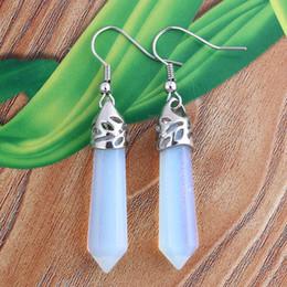Wholesale Wholesale Per Pair - Free Shipping Wholesale - Natural Opal Point Stone Quartz Pendant Earring Fashion Jewelry 5 pairs per lot