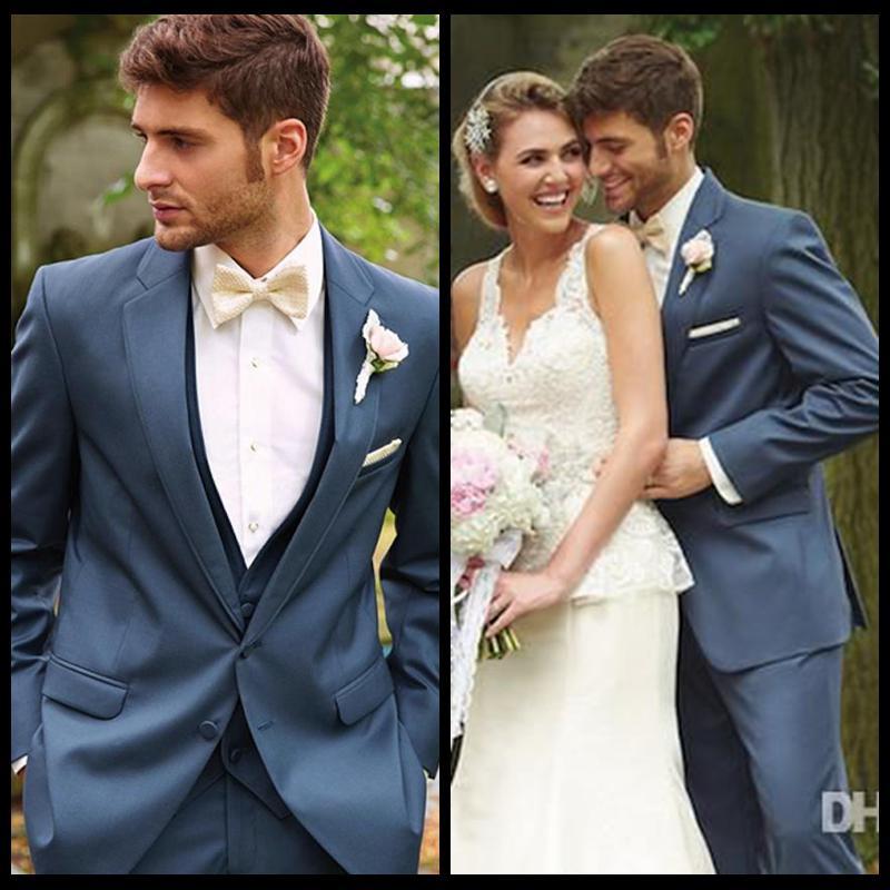 One Button Royal Blue Groom Tuxedos Best Man Peak Lapel