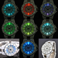 OHSEN 7 Color LED Relógios WHITE Sport Analog Quartz Womens Mens Unisex Plastic with Steel Band Wrist Watch W053