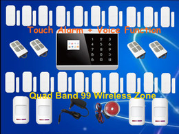 Wholesale Gsm Alarm Dhl - DHL EMS Free Shipping! Touch Keypad + LCD display screen 99 Wireless Zone GSM PSTN SMS Home Security Voice Burglar Android Alarm A609