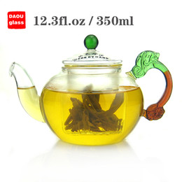 Wholesale Chinese Tea Set Dragon - 12.3 fl.oz 350ml Heat-Resisting Clear Pyrex Glass Teapot Coffee Tea Pot Set Juice Kettle ,Chinese dragon handles tea pot with filter
