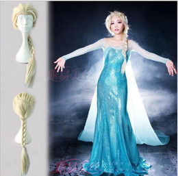 Wholesale Long Ponytail Wigs - New Cartoon Movie Frozen Snow Wig Queen Anna Elsa Wig Long Blonde Braid Cosplay Anime Wig ponytail Classic Halloween Hair