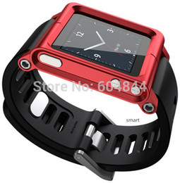 Wholesale Nano 6g Case - Luna Wrist Strap Watch Band Aluminum Case for iPod Nano 6 6th 6G Red freeshipping