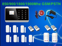 Wholesale gsm wireless smart alarm - Free Shipping! Touch Screen Keypad+LCD TFT display Wireless GSM PSTN SMS Home house Security Burglar Voice Smart Alarm System