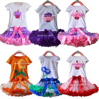 Wholesale Tutus Princess Cake - Retail Girls Pettiskirt Set Baby Children Cake Short Sleeve T-shirt And Solid Color Princess TUTU Skirt Kids Clothes 1 SET