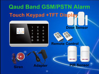 Wholesale Alarm Panels - Free Shipping!New Touch Screen Keypad panel+LCD TFT display Wireless GSM PSTN SMS Home house Security Burglar Voice Alarm System A610