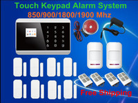 Wholesale Alarm Panels - Free Shipping! 99 Wireless Touch Screen Keypad Panel+LCD Display GSM PSTN Home Security Burglar Voice Smart Magnetic Alarm System