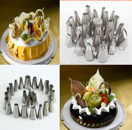 Wholesale Sugarcraft Decorating Tips - 24 Pcs Large Large Stainless steel Icing Piping Nozzles Pastry Tips Set For Cake Decorating Sugarcraft tool FreeShipping