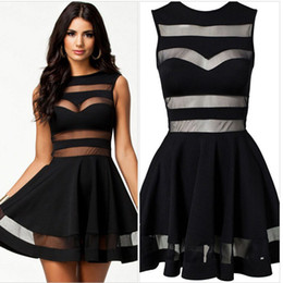 Barato Bandagem De Saia Pregueada-2017 New Fashion Women Mesh Vestidos Bodycon Bandage Sexy Net fio vestido Causal Ladies Girls Pleated saia Club Evening Party Prom Dress E44