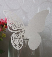 Wholesale Glass Wedding Party Favors - Free Shipping Wholesale - 60x White Pink Red Butterfly Place Name Card Cup Paper Card Table Mark Wine Glass Wedding Favors Party Decoration