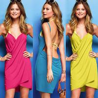 Wholesale Yellow Swimdress - 2017 new hot sale free shipping female spaghetti strap beach dress beach dress swimsuit sunbathing women