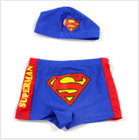 Wholesale Boys Swim Hat - Free Shipping Superman Boy's Swim Trunk Hat Children's Swimming Suit Cap HOT SALE Retail