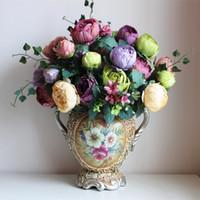 gül demeti buketi toptan satış-Yapay Şakayık Bunch 54 cm Uzunluğu Altı Renkler Yapay Çiçek Simülasyon Continental Boyama Gül Gelin Buketi Düğün Centerpieces için