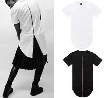 Mens back zipper extended lengthen short sleeve dress t for Zip up dress shirt