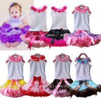 Wholesale Colour Matching Pink - Retail Girls Tutu Skirt Children Baby Lavender With Purple Soft Chiffon Pettiskirt And Matching Flower White Tops Set Free Shipping 1 set