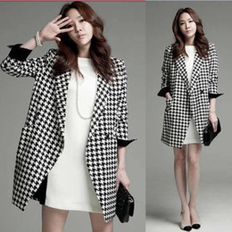 Wholesale Houndstooth Coat Xl - Women Formal Coat Winter Lady Outwear One ButtonTailored Houndstooth Geometric Black and White Bateau Boat Neck Contracted Elegant 2XL Cool