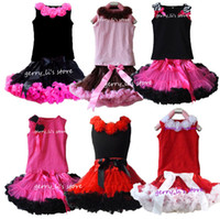 Wholesale Girls Pettiskirt Tops - Retail Girls Tutu Skirt Children Baby Hot Pink With Black Soft Chiffon Pettiskirt And Matching Zebra Black Tops Free Shipping 1 SET