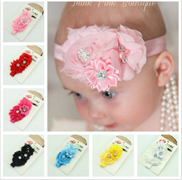 Wholesale Chiffon Rose Bows - New Baby Rose Flowers Headbands Girl Chiffon Flower Headwear Headbands Kids Pearl Bow Hair decoration Headbands Children's Hair Accessories