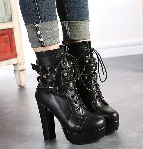 Newest Rivets Black Leather Motorcycle Boots For Women High ...