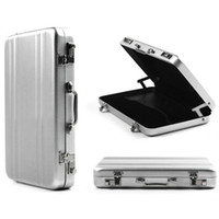 Wholesale-OP-Free Shipping Mini Aluminium Metal Password Briefcase Type Business Card case Bank ID Card Case