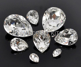 Wholesale Glass Beads Tear Drops - set of 50pcs premium high quality glass crystal tear drops glitter rhinestone Wholesale in mixed sizes 6*8mm-20*30mm