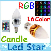 Wholesale e14 rgb led lamp bulb - Brand New Silver Golden 5W E27 E12 E14 Led Candle Lamp RGB 16 Colors Changeable Led Candle Light Bulb Lamp AC 85-265V + Remote Control