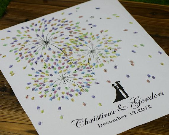 2018 Firework Prints Thumb Print Guest Book,Wedding Guest Book ...