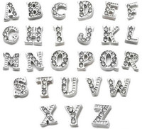 Wholesale Glass Memory Living Locket Letters - floating charms MJ1130025 260pcs silver gold half rhinestone letters Alphabet A-Z each 10 pcs for glass living memory lockets