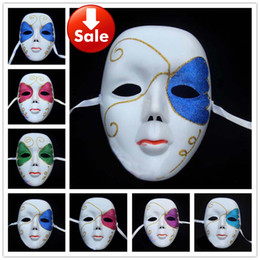 Wholesale Hip Hop Party Supplies Wholesale - Full Face White Party Masks Carnival Hip Hop Dance Costume Mardi Gras Prop Venetian masquerade party supply Halloween Mask Free shipping