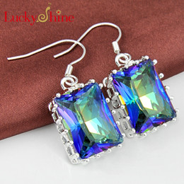Wholesale Earring Variety - Luckyshine Two pieces lot 925 silver plated A variety of colors Sparkling Square Mystic topaz crystal earrings for lady party gift E0002