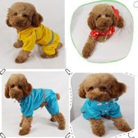 Wholesale Pet Dog Rain Coat Hoodie - Wholesale Small Pet Dog 4 Feet Raincoat Double Layer Hoodie Rain Coat Waterproof Pet Clothes Blue Red Yellow Camouflage Promotion