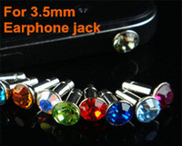 Wholesale Xiaomi Crystal - Universal 3.5mm Crystal Diamond Anti Dust Plug Dustproof Earphone Jack for iPhone 3G 4G 4S iPad Samsung HTC Xiaomi Cellphone Smartphone