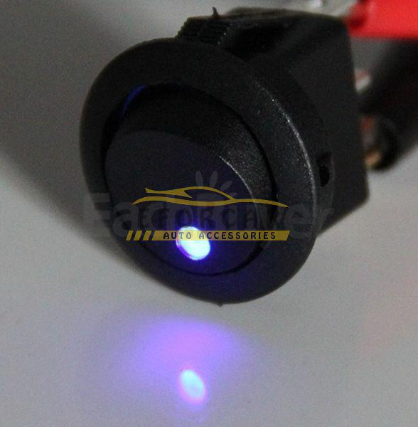 top popular 30X Mini Round Blue LED Rocker Indicator Switch 3 Pin On-Off 12V DC Free Shipping 2021