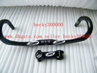 Wholesale Bike Kits - 2014 full carbon road handlebar + package carbon stem 2 pieces kit , free shipping