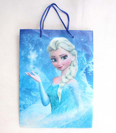 Wholesale School Bag Carrier - Wholesales 20 pcs lot Frozen school Theme Shopping Bag PVC material Anna&Elsa Gift Bag Anna&Elsa Carrier Bag