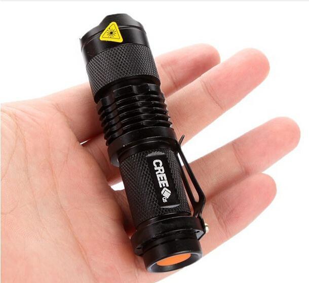 무료 DHL, 울트라 라이트 미니 크리 어 LED Q5 손전등 토치 300LM 휴대용 미니 손전등 Zoomable 방수 손전등 토치 램프
