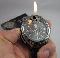 Wholesale Steel Stainless Lighter - DHL Freeshipping Fashion Cigarette Butane Lighter Watch black silver golden men's quartz watch