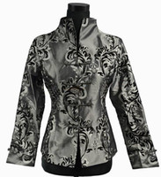 Wholesale Chinese Silk Satin Jackets - Free shipping 2015 Chinese Style Cheongsam Top Gray NEW Chinese Women Silk Satin Jacket Coat Flowers M L XL XXL XXXL 0943-4