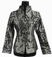 chaqueta de satén gris al por mayor-Envío gratis 2015 estilo chino Cheongsam Top gris NUEVO chino mujeres satén de seda chaqueta abrigo flores M L XL XXL XXXL 0943-4