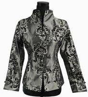 casaco chinês mulher venda por atacado-Frete grátis 2015 Estilo Chinês Cheongsam Top Cinza NOVO Mulheres Chinesas de Cetim De Seda Casaco Jaqueta Flores M L XL XXL XXXL 0943-4
