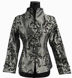 Wholesale Chinese Satin Jackets - Free shipping 2015 Chinese Style Cheongsam Top Gray NEW Chinese Women Silk Satin Jacket Coat Flowers M L XL XXL XXXL 0943-4