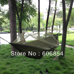 Wholesale Mosquito Nets For Outdoors - Wholesale-OP-Portable High Strength Parachute Fabric Hammock Hanging Bed With Mosquito Net For Outdoor Camping Travel