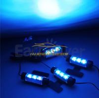 iluminação azul venda por atacado-4 pçs / set Carro Levou Luz Do Carro Iluminação Ambiental LEVOU Luz de Humor Interior Luzes Decorativas Interior Luzes Do Pé Do Carro Styling Luz Azul